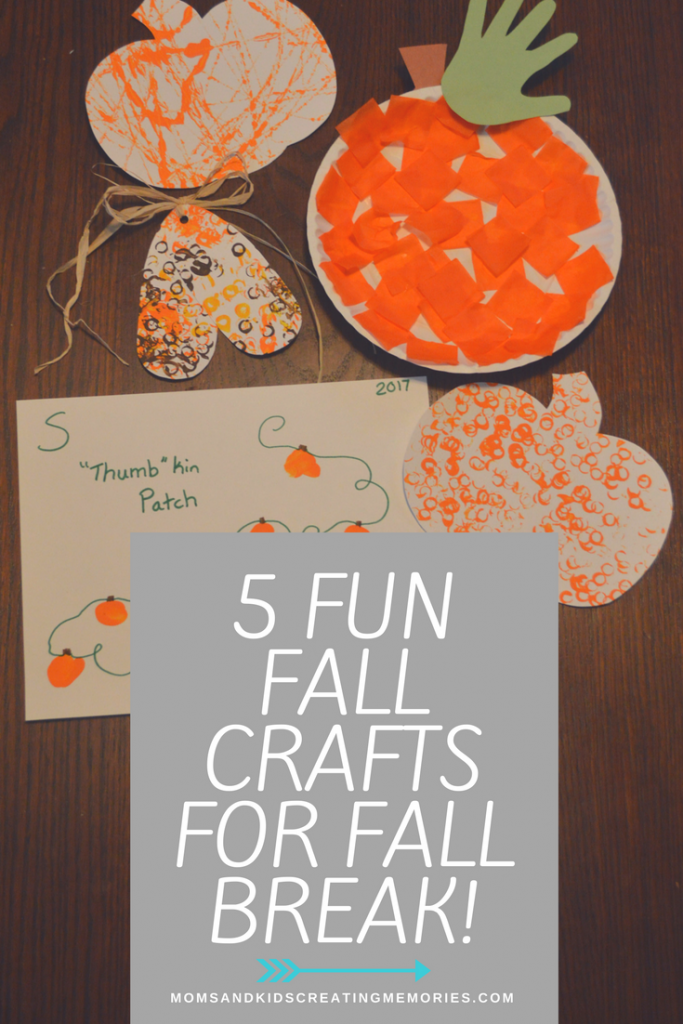 Five Fun Fall Crafts - try them out with your kids over break. These are kid tested and mother approved. We had so much fun making them and created so many wonderful memories and I hope you do as well with your children.