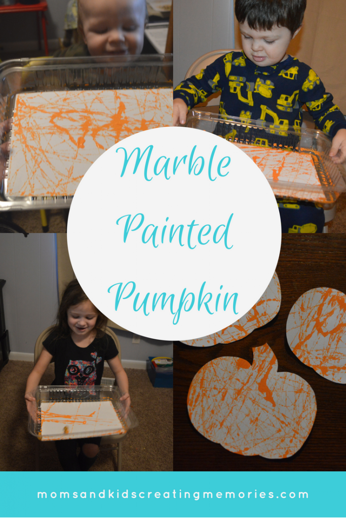 Moms and Kids Creating Memories by Marble Painting Pumpkins. A fun and easy craft to do with your kids that my kids loved! Very few supplies are needed and there is very little mess. A perfect fall break activity to try with you kids while you are creating memories.