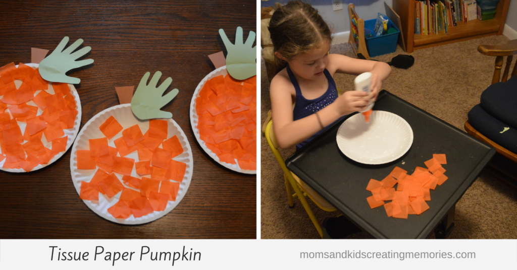 Tissue Paper Pumpkin - personalize it any way you want - mine was simple but the kids had so much fun!