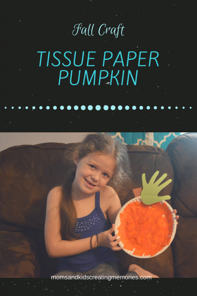Tissue Paper Pumpkin - a fun and easy fall craft that the kids will love the mom (or Grandma) will love the keepsake. Not many supplies needed, easy to prep, lots of fun and so cute!