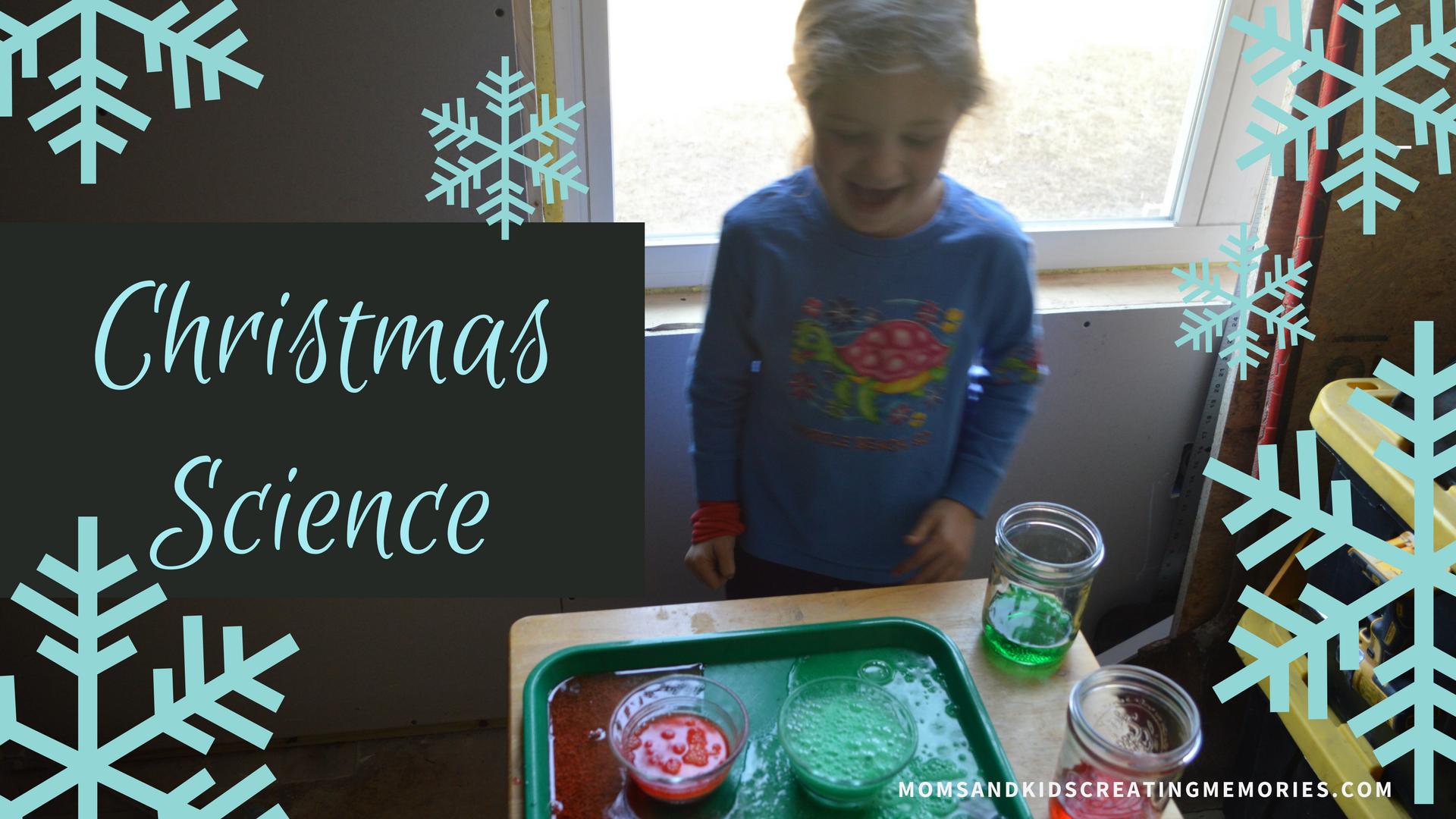 Christmas Science Fun! Do this fun activity with your kids with a Christmas twist and they can learn about chemical reactions and color mixing and having fun. Try this out with your kids this Christmas!