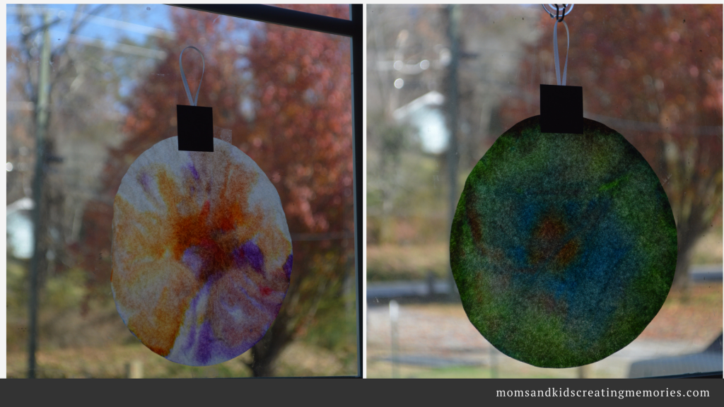 Coffee Filter Suncatcher Ornament - Finished Product Hanging in the Window