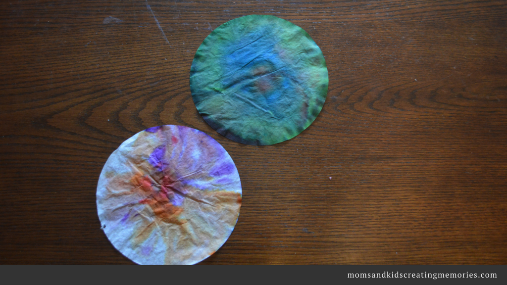 Coffee Filter Suncatcher Ornaments - After they are sprayed and dried