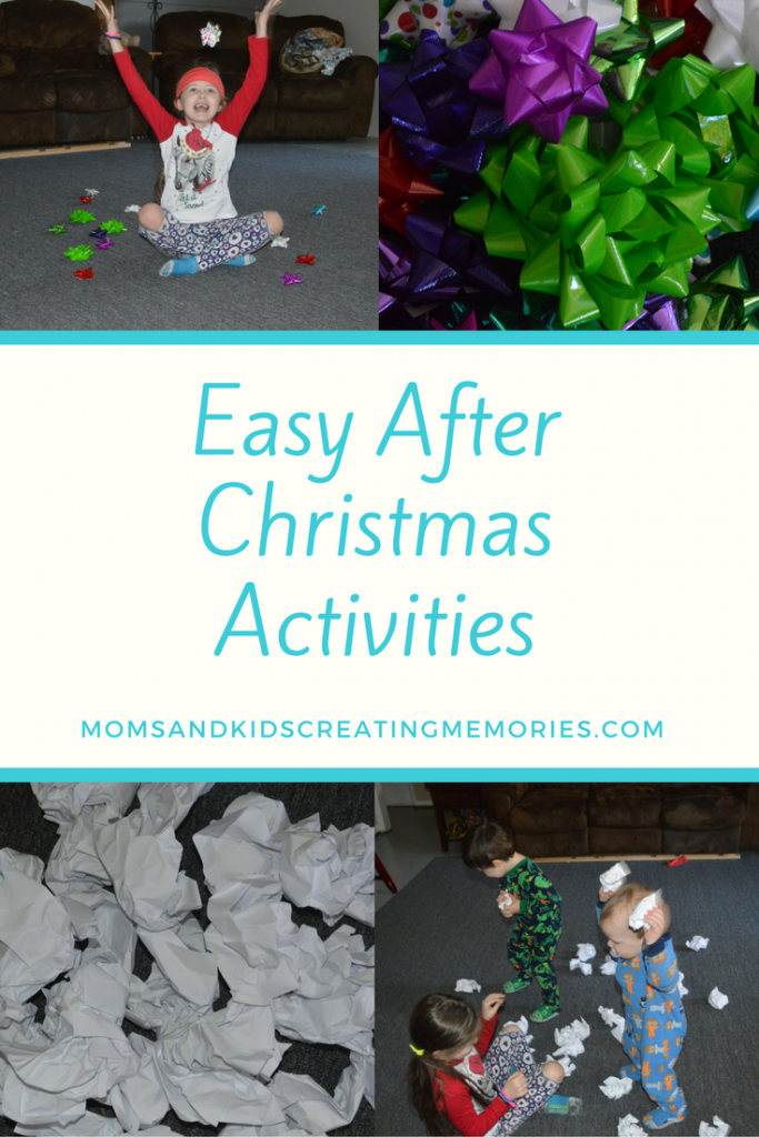 "Easy After Christmas Activities - here are two easy and fun activities to do with your kids that will require very few supplies and yet provide a lot of fun for your kids. Gift bows, paper, ""snow""balls, after Christmas, fun activities for kids"