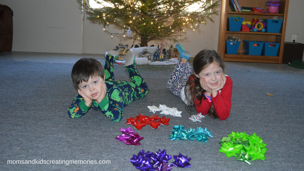 Easy After Christmas Activities - gift bows used for learning colors and counting