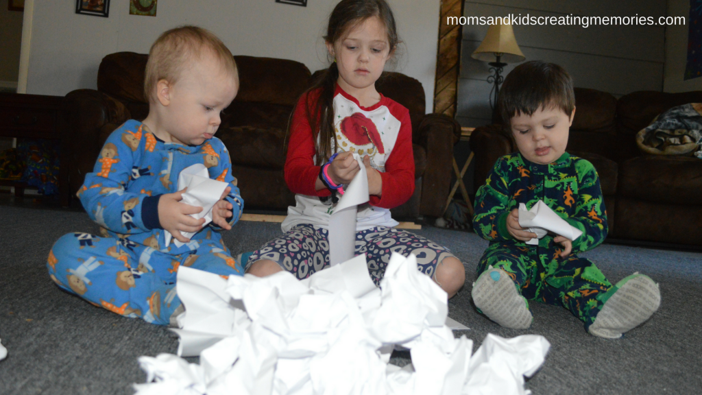 "Easy After Christmas Activities - making ""snow""balls out of printer paper - lots of fun to be had"