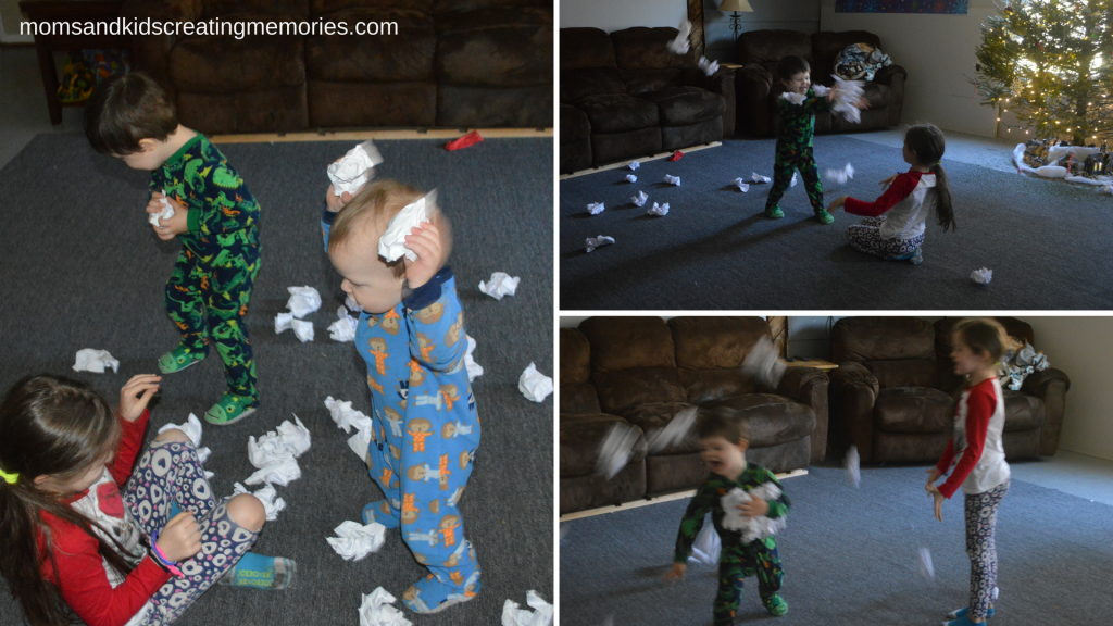 "Easy After Christmas Activities - having an indoor ""snowball"" fight"