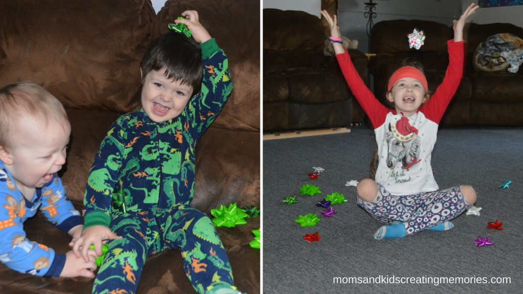 Easy After Christmas Activities - Having fun with gift bows - an easy and fun activity for your kids to do after Christmas
