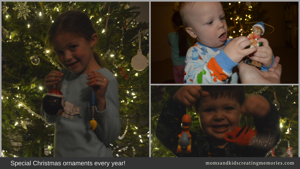 Family Christmas Traditions - each kid with the new ornament for the year