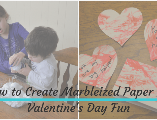 Two of my kids squirting shaving cream in a pan and the finished product of the marbleized paper with Text Overlay of How to Create Marbleized Paper for Valentine's Day Fun