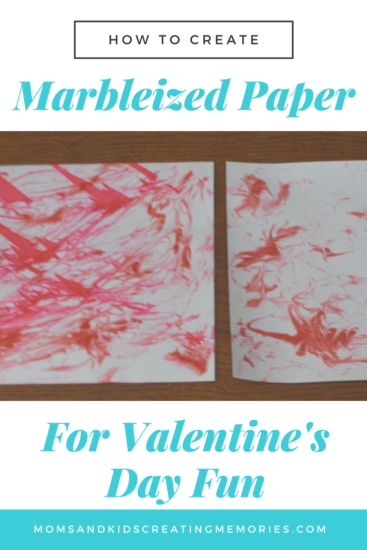 How to Create Marbleized Paper for Valentine's Day Fun.  Want something fun to do with your kids?  Try this out - my kids loved it and I'm sure yours will too.