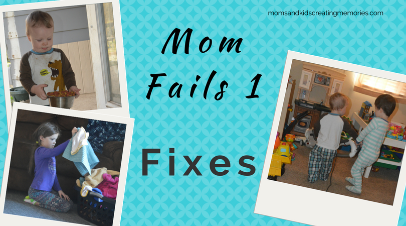 Mom Fails - 1 - Fixes - pictures of M feeding the dogs, A folding the clothes and the boys vacuuming their room