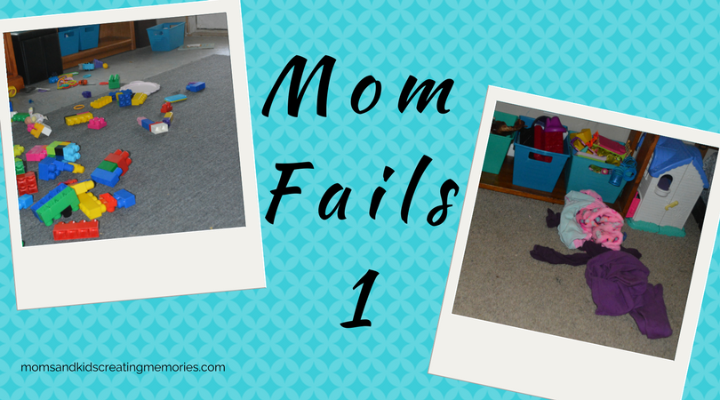 Mom Fails - 1 - Picture of toys all over the ground and dirty clothes on the ground