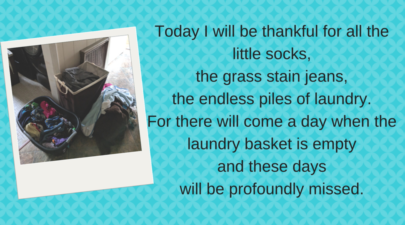 Mom Fails - Picture of laundry piled high with a quote about laundry and missing it when it isn't there any more