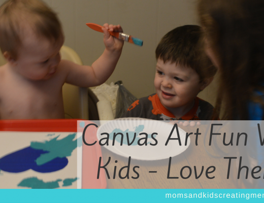 My three kids painting on canvas with text overlay Canvas Art Fun With Kids - Love Theme