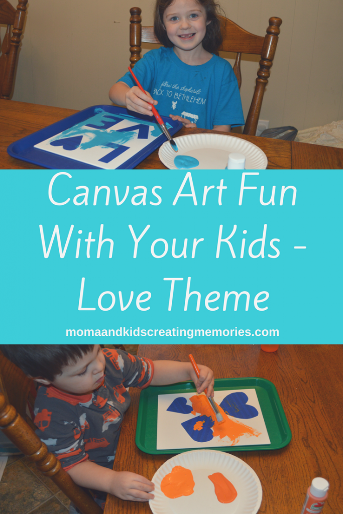 Pictures of two of my kids painting the canvases with the words - Canvas Art Fun With Your Kids - Love Theme - momsandkidscreatingmemories.com