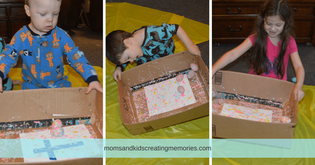 10 Fun Things To Do With Easter Eggs - My three kids painting with Easter eggs in a box