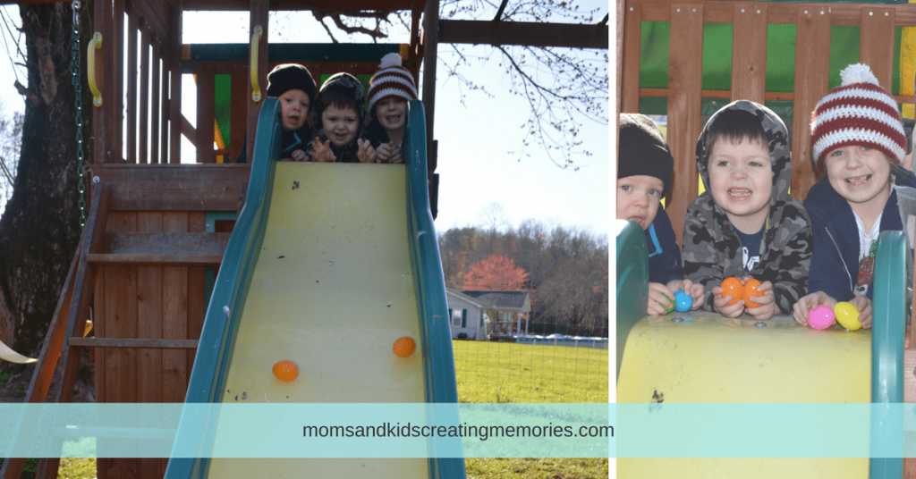 10 Fun Things To Do With Easter Eggs - My kids rolling eggs down a slide