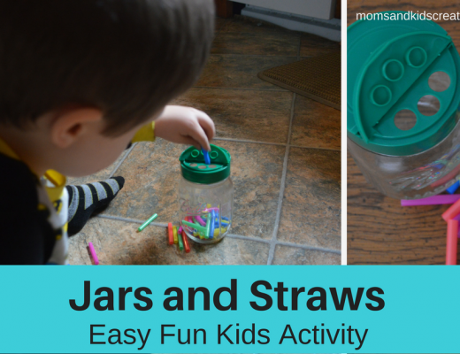 Jar and Straw Pieces, S putting straws into the jar - Word Overlay - Jars and Straws - Easy Fun Kids Activity