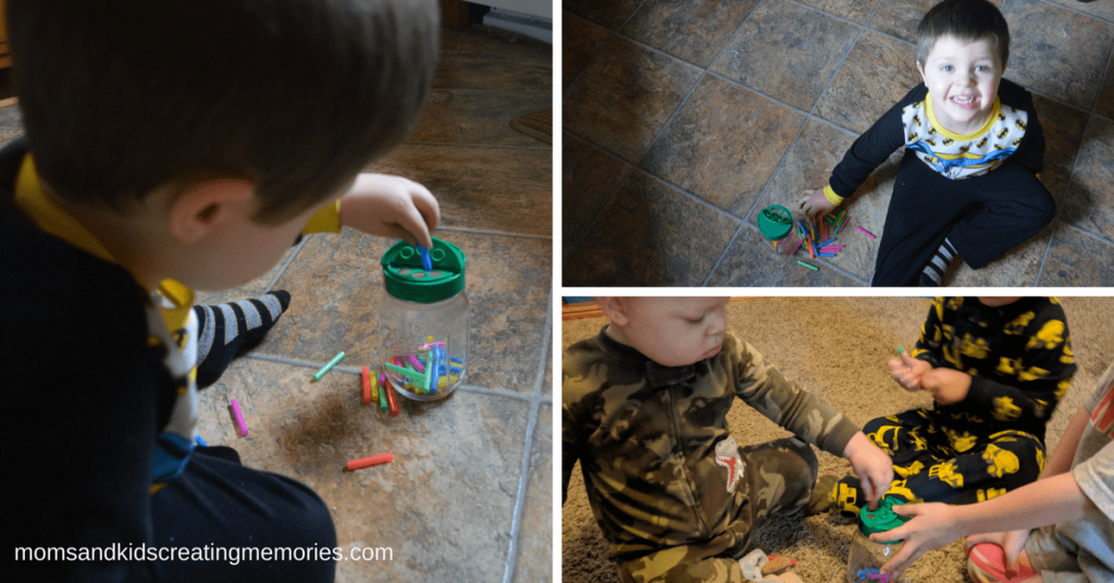 Jars and Straws - Three pictures of my kids putting the straws into the jar