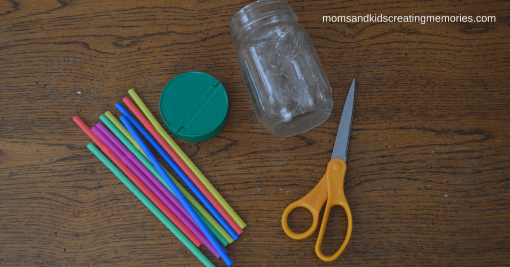 Jars and Straws Supplies Needed - Colored Straws, Canning Jar, Lid and Scissors