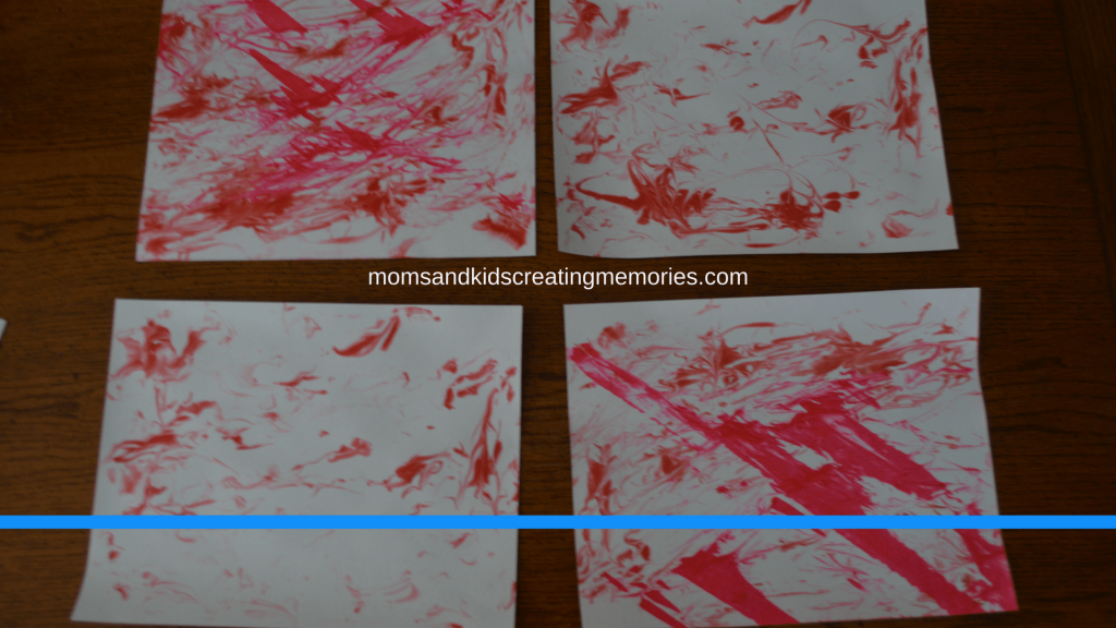 Marbleized Paper - the kids four pages they did - drying