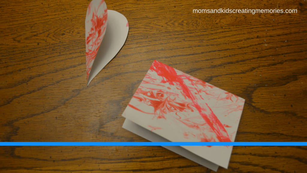 The marbleized paper cut to make cards