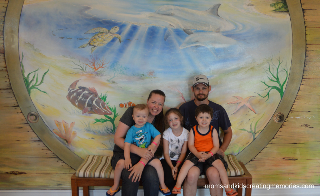 My Family sitting in front of a mural with dolphins while on vacation