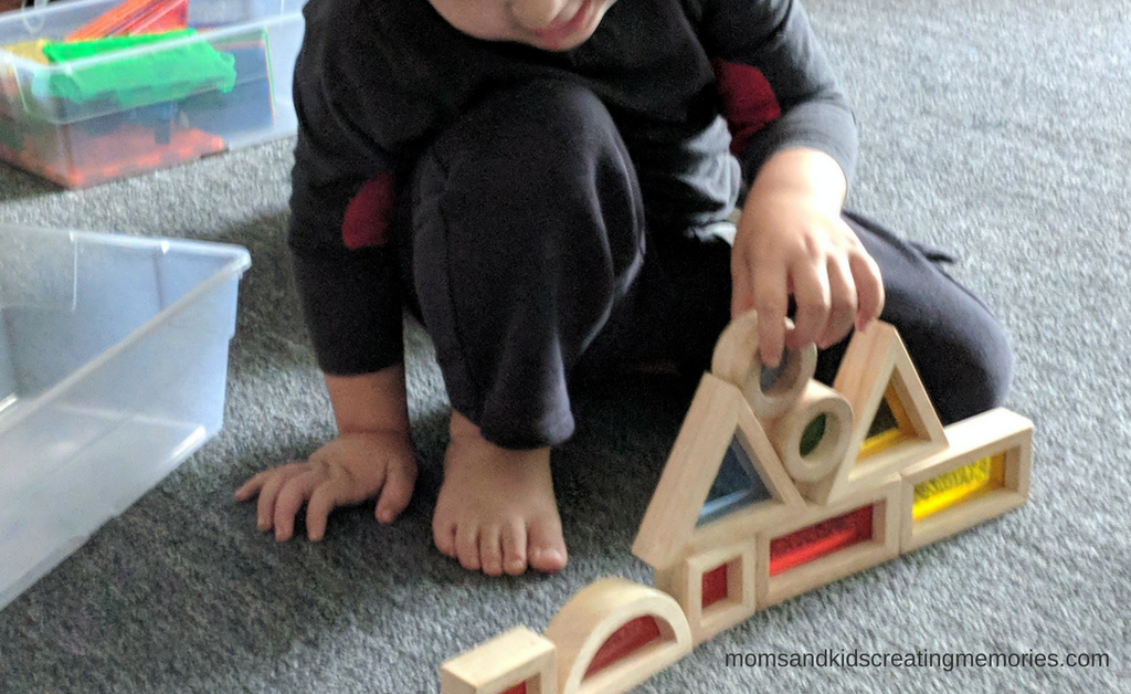 My son stacking his blocks on top of each other and making them balance - he loves these toys