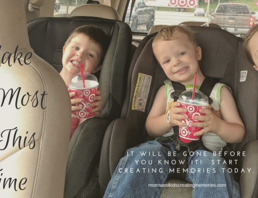 My three kids enjoying an icee in our car - with text overlay - Make the Most of This Time - This time will be gone before you know it. Start creating Memories today.