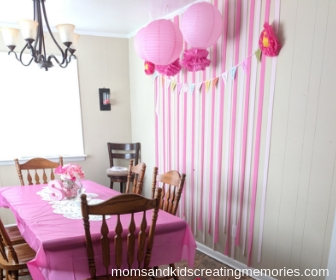 Tea Party all set up with streamers, flowers and more