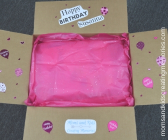 Party Box with Happy Birthday Susanna on it